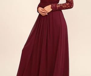 burgundy, dress, and bridesmaid dress image