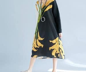 black dress, etsy, and cotton dress image