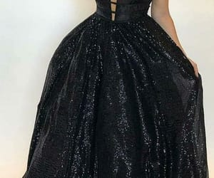 prom dress, prom gown, and black prom dress image