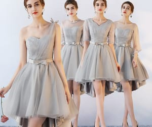 girl, grey dress, and asymmetrical dress image