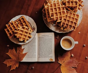 book, coffee, and waffles image