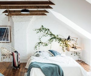 interior decorating, wooden floor, and wooden beams image