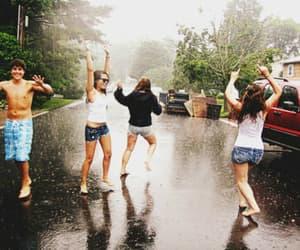 friends, rain, and happy image