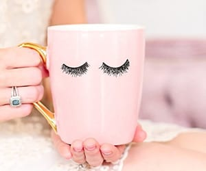 mug, pink, and eyelashes image