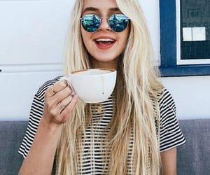 girl, beauty, and coffee image