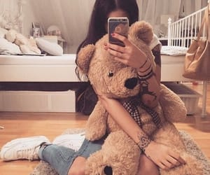 fashion, girl, and teddy image