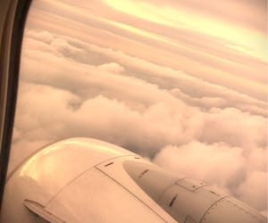 airplane, clouds, and Flying image