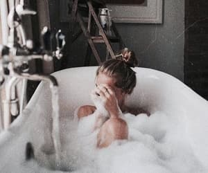 girl, bath, and bubbles image