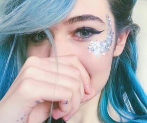 blue eyes, blue hair, and glitter image