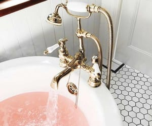bath, pink, and home image