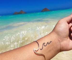 beach, tattoo, and waves image