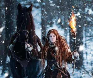 snow torch horse and redhead dreads hunter image