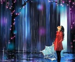 art, lights, and umbrella image
