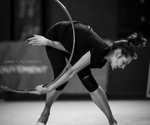 black and white, hoop, and rhytmic gymnastic image