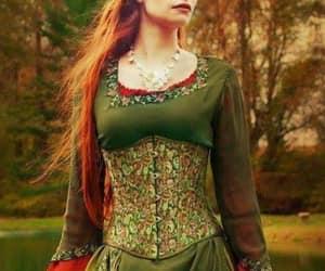 redhead green dress image