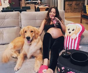 dog, girl, and pregnancy image