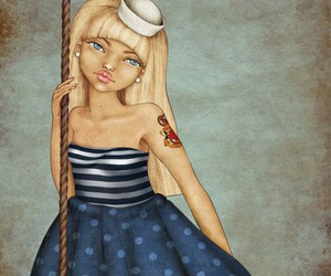 blue, dots, and girl image