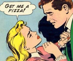 pizza, food, and comic image