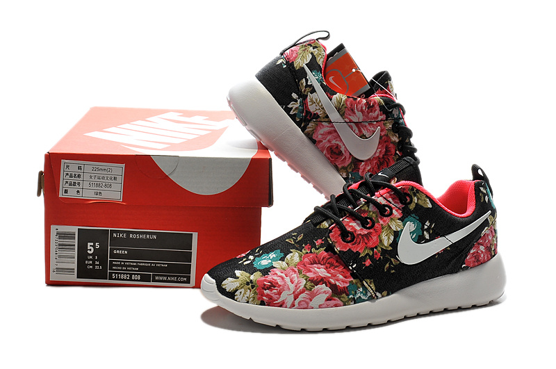 Nike Womens Roshe Run Painted Black Red Flowers