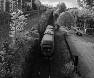 black and white, train, and fotografie image