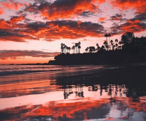 sunset, nature, and red image