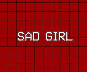red, wallpaper, and sad girl image