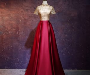 evening dress, glitter, and gold image