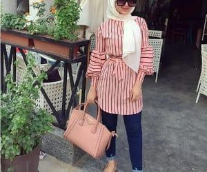 striped blouse hijab image