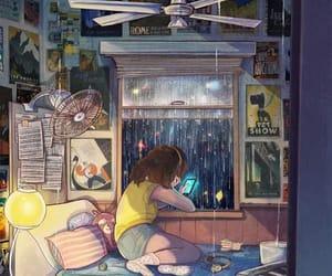 art, rain, and room image