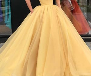 ball gown, yellow dress, and prom dress image