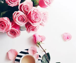 coffee, rose, and flowers image