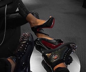 couple, heels, and shoes image