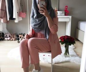 fashion, suit, and hijab image