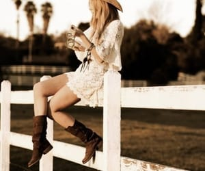 boots, Cowgirl, and lace image