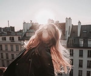 girl, sun, and city image
