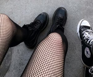 black, outfit, and sneakers image