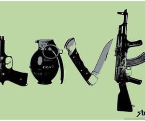 love, gun, and knife image
