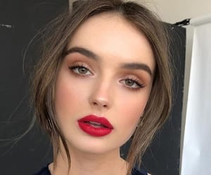 brunette, makeup, and red lips image