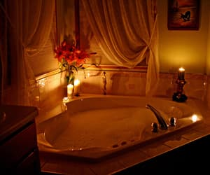 candle, romantic, and bath image