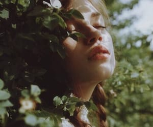 green, sunlight, and her in nature image