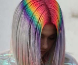 rainbow, girl, and hair image