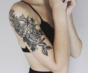 black ink, tatoo, and flowers image