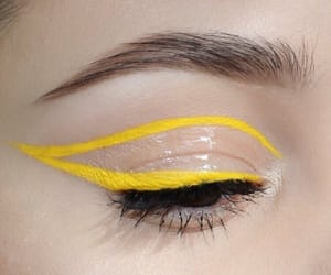 makeup, yellow, and beauty image