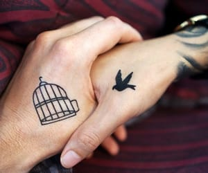 alternative, holding hands, and Tattoos image