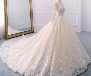 ball gown, beading, and see-through image
