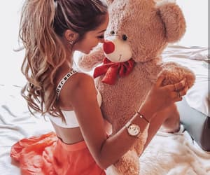 fashion, girls, and teddy bear image