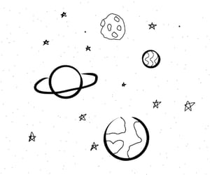 planet, stars, and black image