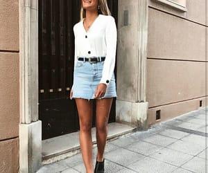 fashion, street style, and denim skirt image