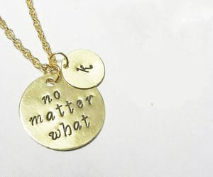 gold necklace, initial necklace, and handstamped necklace image
