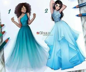 art, blue, and blue dress image
